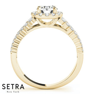 DIAMOND ENGAGEMENT 14K GOLD RINGS HALO ROUND