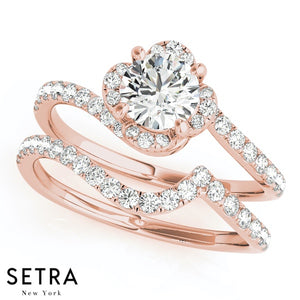 ROUND CUT DIAMONDS SEMI MOUNT ENGAGEMENT RING 18K ROSE GOLD