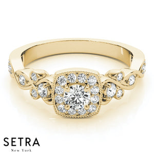 14K FINE GOLD ROUND CUT DIAMONDS HALO ENGAGEMENT RINGS