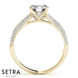 14K FINE GOLD CLASSIC MICRO PAVE SET ENGAGEMENT DIAMONDS RING