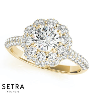 DIAMOND ENGAGEMENT HALO 14K GOLD RING