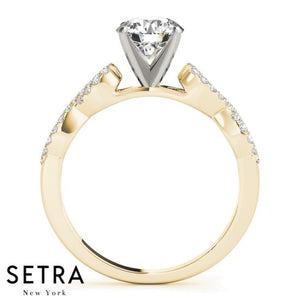 1/2ct TWISTED SPLIT DIAMOND ENGAGEMENT 14kt FINE GOLD