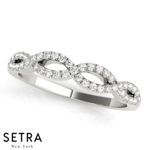 14kt TWISTED DIAMOND WEDDING BAND RING
