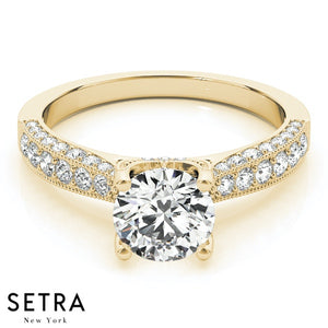 MICRO-PAVE SETTING 14K GOLD DIAMOND ENGAGEMENT RING