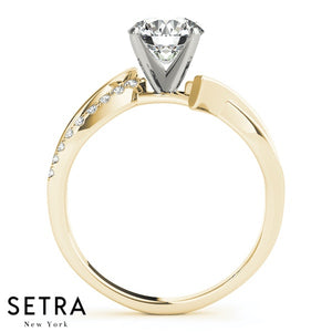 BRILLIANT ROUND MODERN BRIDAL BYPASS ENGAGEMENT RING 14k GOLD