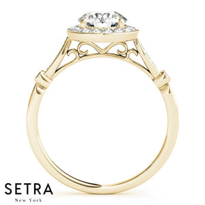 14K FINE GOLD ROUND CUT DIAMOND IN ROUND HALO ENGAGEMENT RING