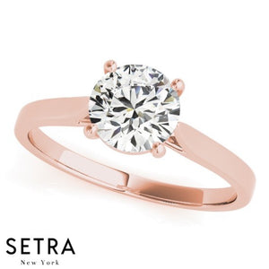 1/3ct CLASSIC DIAMOND SOLITAIRE PRONG SET ENGAGEMENT 14kt FINE ROSE GOLD