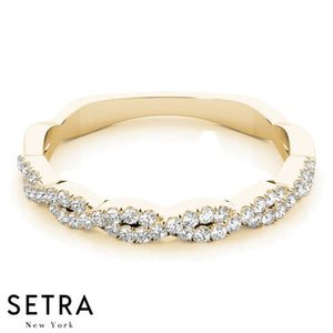 14kt FINE YELLW GOLD TWISTED DIAMOND WEDDING BAND PAVE SET