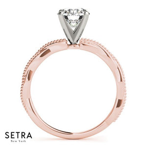 TWISTED FINE ROSE GOLD DIAMOND ENGAGEMENT RING 14kt