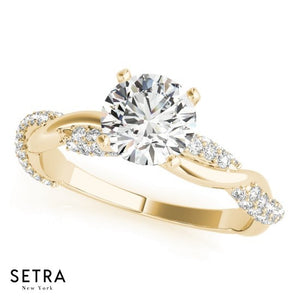 Roal setting Twisted Engagement Ring 14kt Gold