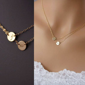 Double Disc Circle Couture Initial 14k White Yellow or Rose Gold Necklace