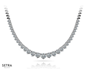 GRADUATING ROUND CUT DIAMOND TENNIS NECKLACE 14kt SOLID GOLD