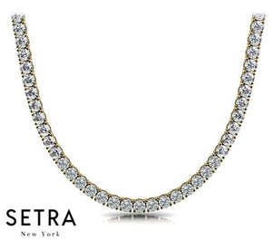 RIVIERA ROUND CUT DIAMOND TENNIS NECKLACE 14kt YELLOW SOLID GOLD