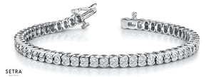 2.00ct Round Cut Diamonds Women's Bridal Tennis Link Solid Bracelet In 14k Gold