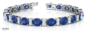 Total 13.56ct Oval Cut Natural Genuine Sapphire & Diamonds Bracelet In 14k Gold