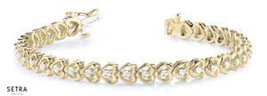 Round Cut Diamond Heart Shape Fashion Bracelet Solid 14k Gold