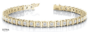 Round Cut Diamonds Illusion Bar Setting Solid Tennis Bracelet 14kt Gold