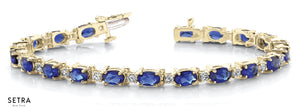 Total 9.20ct Oval Cut Natural Genuine Sapphire & Diamonds Bracelet In 14k Gold