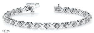 2.00ct Women's Sapphire Gems & Diamonds 'XO' Link Tennis Bracelet 14K Gold