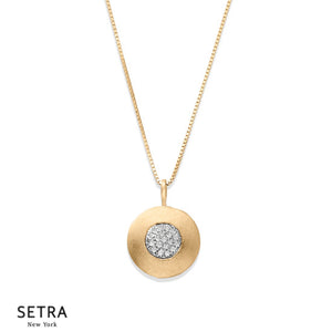 Flat Disc Fine Diamonds Necklace 14kt Gold