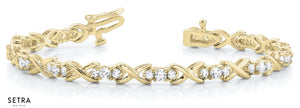 2.00ct Round Cut Diamonds Women's ''XO'' style Solid Tennis Bracelet 14k Gold