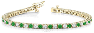 EMERALD & DIAMOND LINK TENNIS BRACELET 14K GOLD