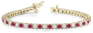 RUBY & DIAMOND LINK TENNIS BRACELET 14K GOLD