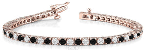BLACK DIAMOND & CLEAR DIAMOND LINK TENNIS MEN / WOMEN'S BRACELET 14K GOLD
