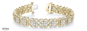 ROUND CUT DIAMOND 14kt FINE GOLD FANCY BRACELETS