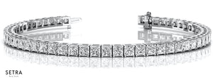 4.00ct Princess Cut Diamonds Women's / men's Solid Tannis Bracelet In 14k Gold