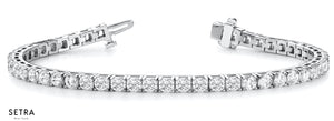 1.00ct Round Cut Diamonds Women's Bridal Solid Tennis Bracelet In 14k Gold
