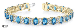 7.80ct Round Cut Diamonds & Blue Topaz Women's Bridal Fancy Solid Bracelet In 14k Gold