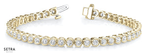 1.00ct Round Cut Diamonds Women's Bridal Link Tennis Solid Bracelet In 14k Gold