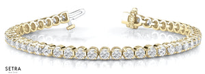 2.17ct Round Cut Diamonds Women's Bridal Solid Tannis Bracelet In 14k Gold