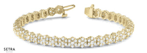 14kt YELLOW FINE GOLD DIAMOND TENNIS BRACELETS
