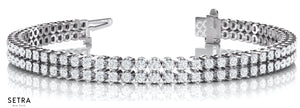 2 Row 3.63ct Round Cut Diamonds Women's Link Tennis Bracelet Style Bridal Solid