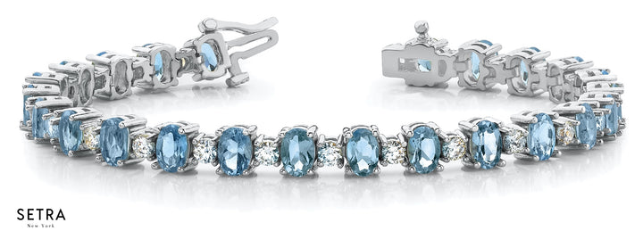 1.60ct Round Cut Natural Diamonds & Blue Topaz Women Bridal Fancy Solid Bracelet In 14k Gold
