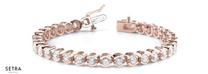 1.00ct Round Cut Diamonds Women's Bridal Link Tennis Solid Bracelet In 14k Rose Gold