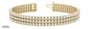 3.75 CT  DIAMONDS IN LINE 3 ROW TANNIS BRACELET MEN / WOMEN'S MOLTI-COLOR GOLD