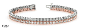 2 ROW TENNIS BRACELET FINE 14k PINK AND WHITE GOLD