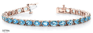 Oval Cut Natural Blue Topaz Women's Bridal Fancy Solid Bracelet In 14k Gold