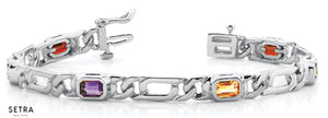 Emerald Cut Natural Gemes Mix Stone Women's Bridal Fancy Solid Bracelet In 14k Gold