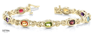 Oval Cut Natural Mix Colord Gems Stone Women's Bridal Fancy Solid Bracelet In 14k Gold