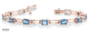Emerald Cut Natural Blue Topaz Women's Bridal Fancy Solid Bracelet In 14k Gold