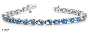 Pear Cut Natural Blue Topaz Women's Bridal Fancy Solid Bracelet In 14k Gold