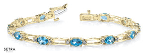 Oval Cut Natural Blue Topaz & Diamonds Women's Bridal Fancy Solid Bracelet In 14k Gold