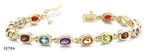 Oval Cut Natural Mix Color Stones Women's Bridal Fancy Solid Bracelet In 14k Gold