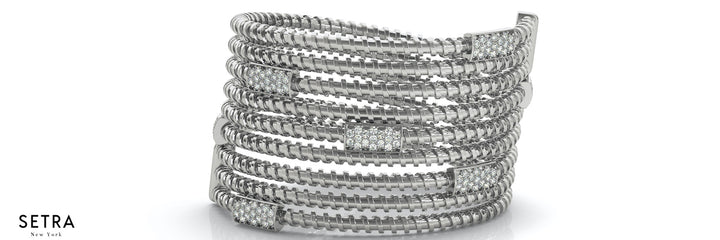 1.00ct Round Natural Diamonds Women's Open Twist Bangle Solid Bracelet 14k Gold