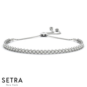 14k WHITE GOLD ADJUSTABLE DIAMONDS TENNIS BRACELET