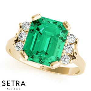 14k Rose Gold Center Radian Emerald Gem & Diamonds Fashion Ring